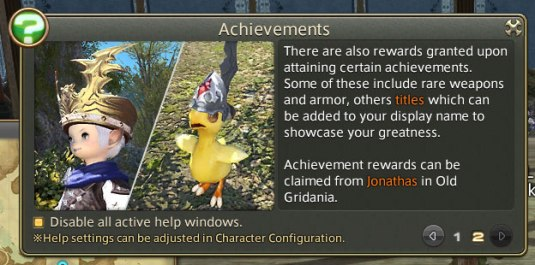 Tutorial (in Active Help) about Achievements. It mentions Jonathas.