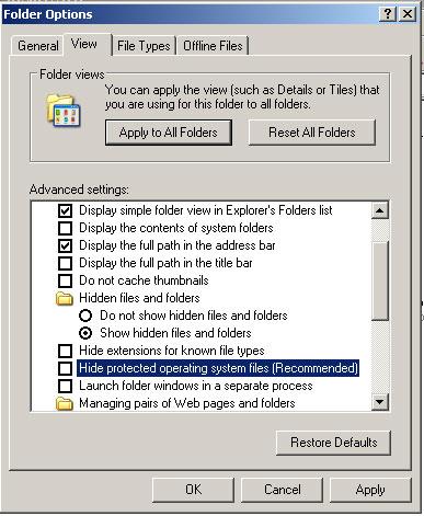 Folder options (Windows XP)