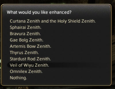 Choose which Zenith Weapon will be upgraded to Atma Weapon.