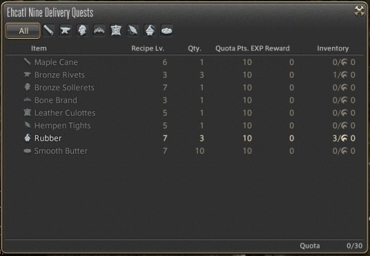 Example of the list of items that you can deliver to fill your quota. Each item can be delivered repeatedly, and are at a low level as the quests require, regardless of your crafter's own level.