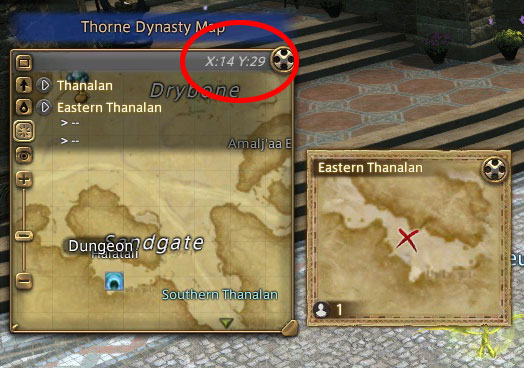 Legend: Coordinates on upper part, actual map area on left side and Thorne Dynasty map on right side