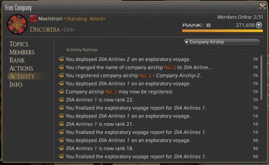 The FC activity log which states that a second airship may be registered.